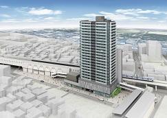 羽衣駅前地区第一種市街地再開発事業  権利変換計画認可  地上23階建・145戸 商業施設と一体開発